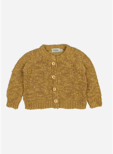 Buho dani knit cotton flame cardigan - ocre