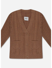 Repose knit cardigan v neck cable - rusty marble
