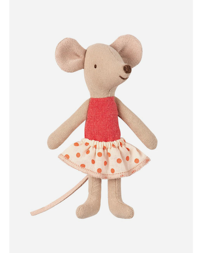 Maileg little sister mouse with dot skirt in box
