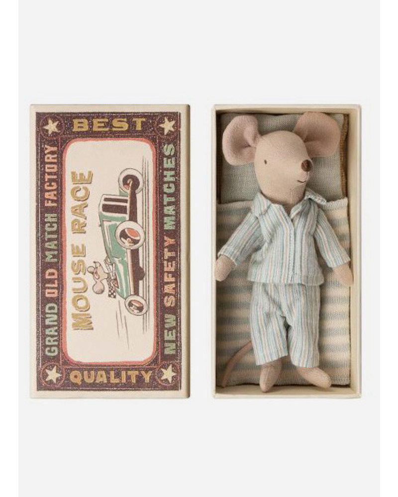 Maileg mouse with pyjama in box - big brother mouse
