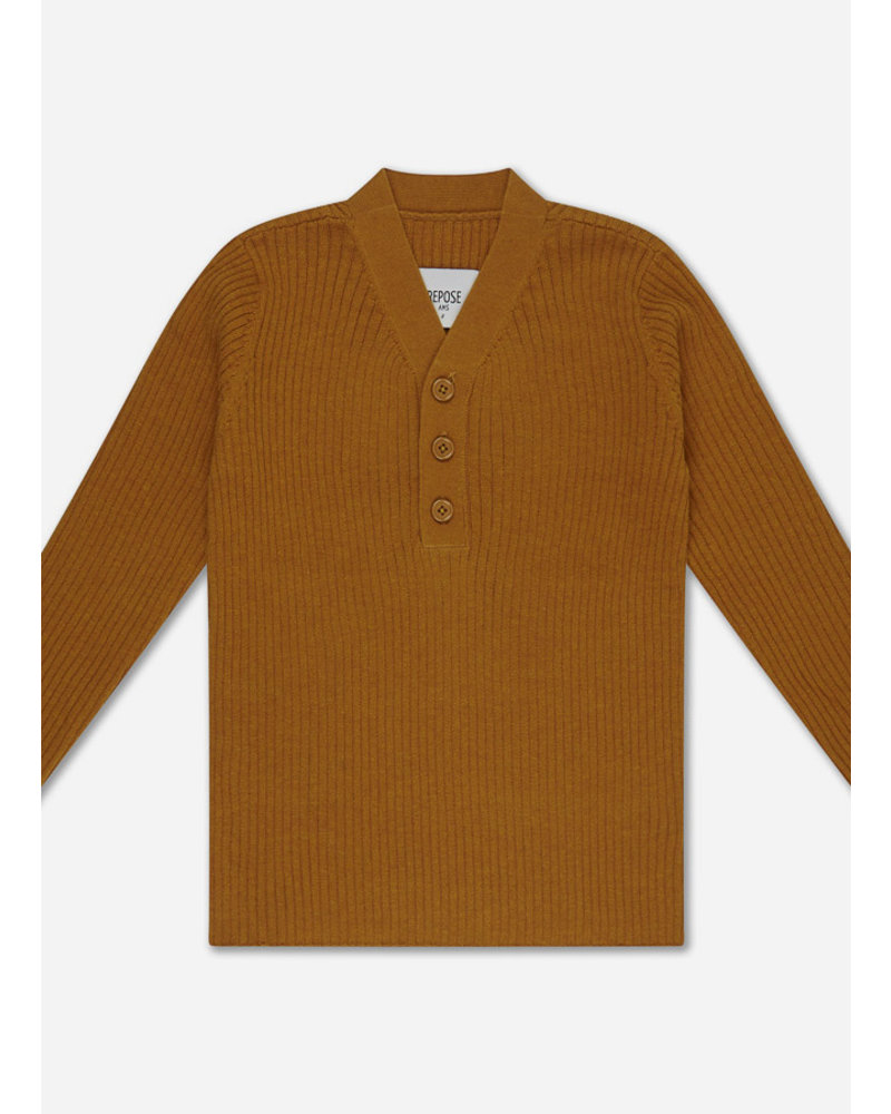 Repose 39. knit sweater v neck - warmed rust