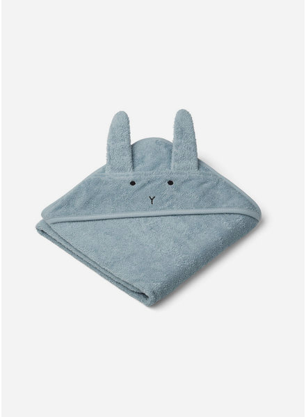 Liewood albert hooded towel rabbit sea blue