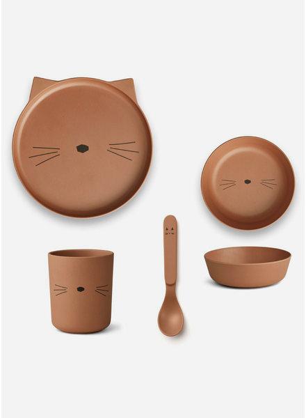 Liewood bamboo box set cat terracotta