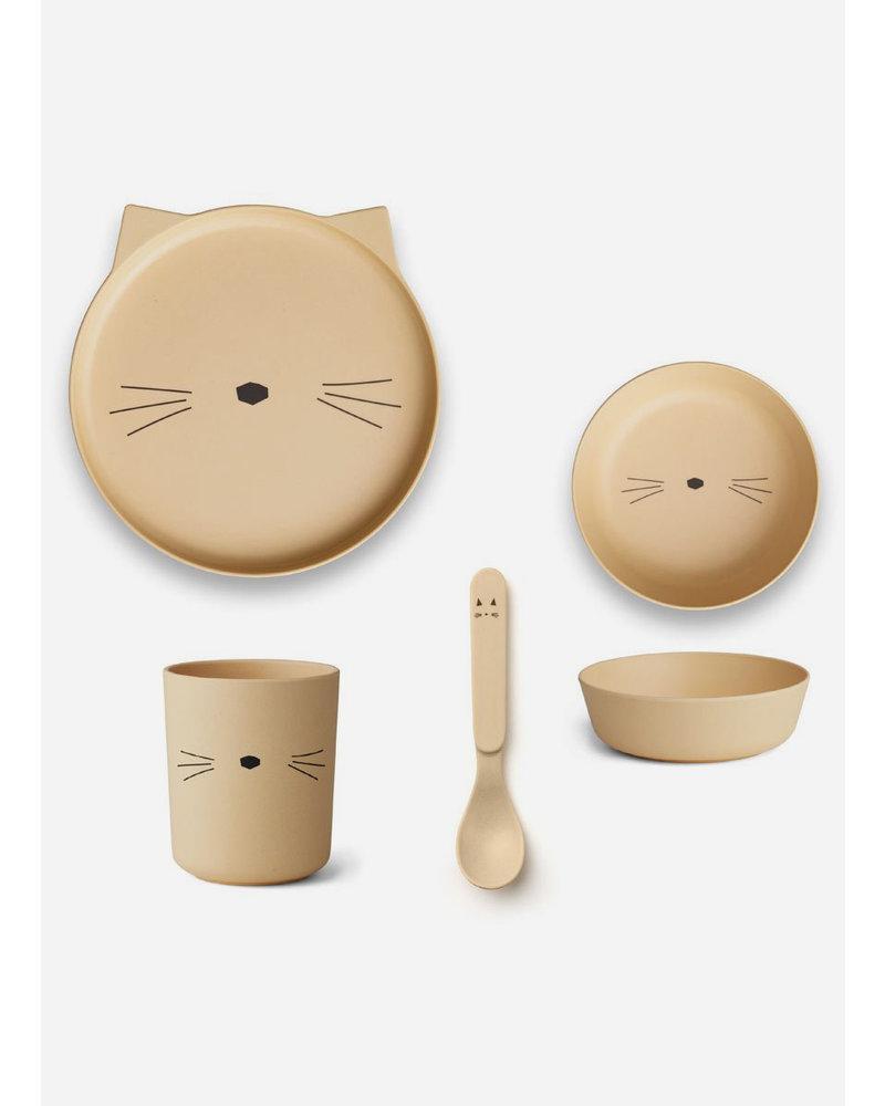 Liewood bamboo box set cat smoothie yellow