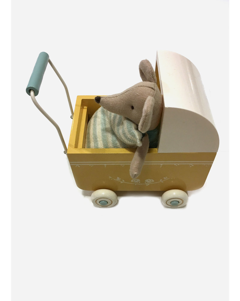 Maileg pram yellow and little sister set