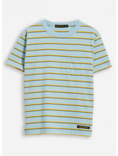 Finger in the nose kid sun blue stripes crew neck t-shirt