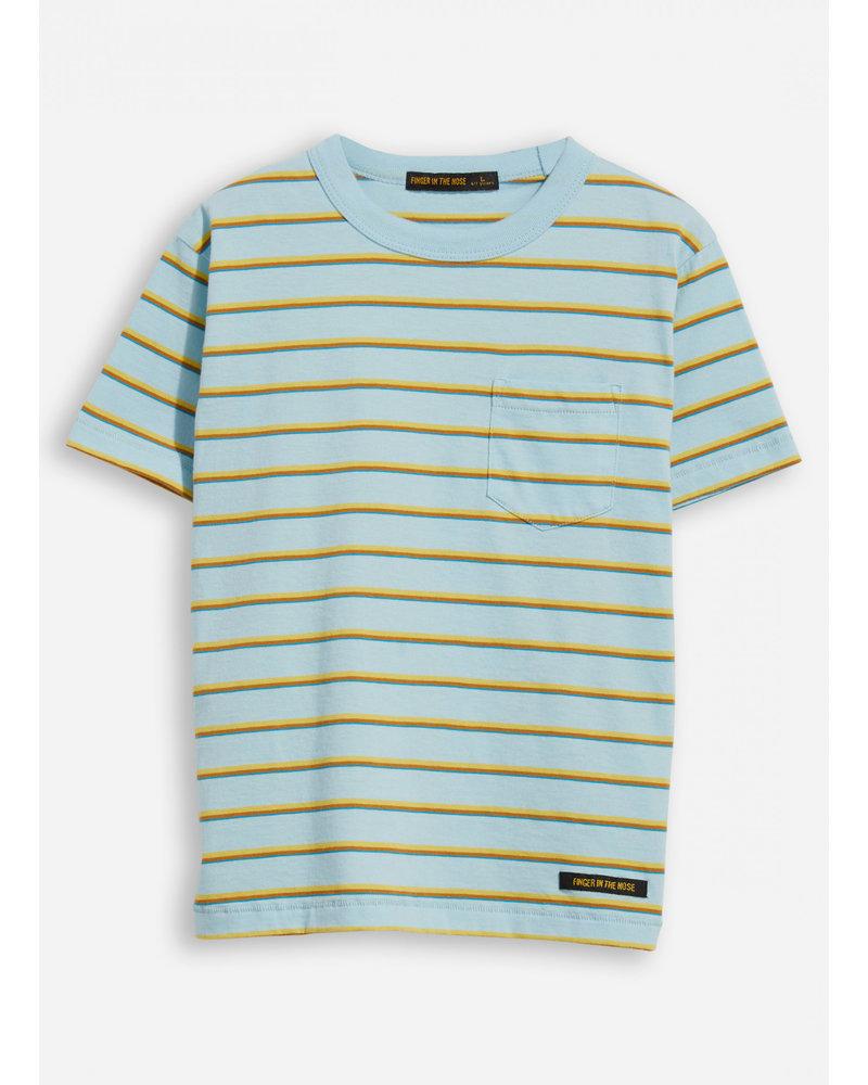 Finger in the nose kid sun blue stripes crew neck t-shirt
