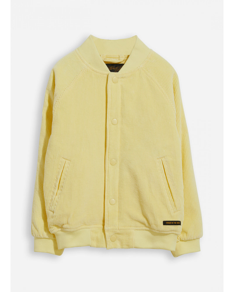 Finger in the nose prentender pale yellow cord varsity jacket