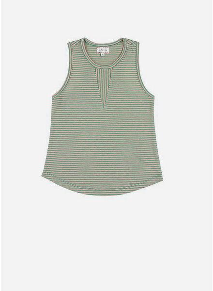 Morley lovina stripe rose/ green girls shirt
