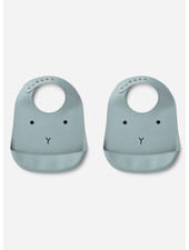 Liewood tilda silicone bib 2-pack rabbit sea blue