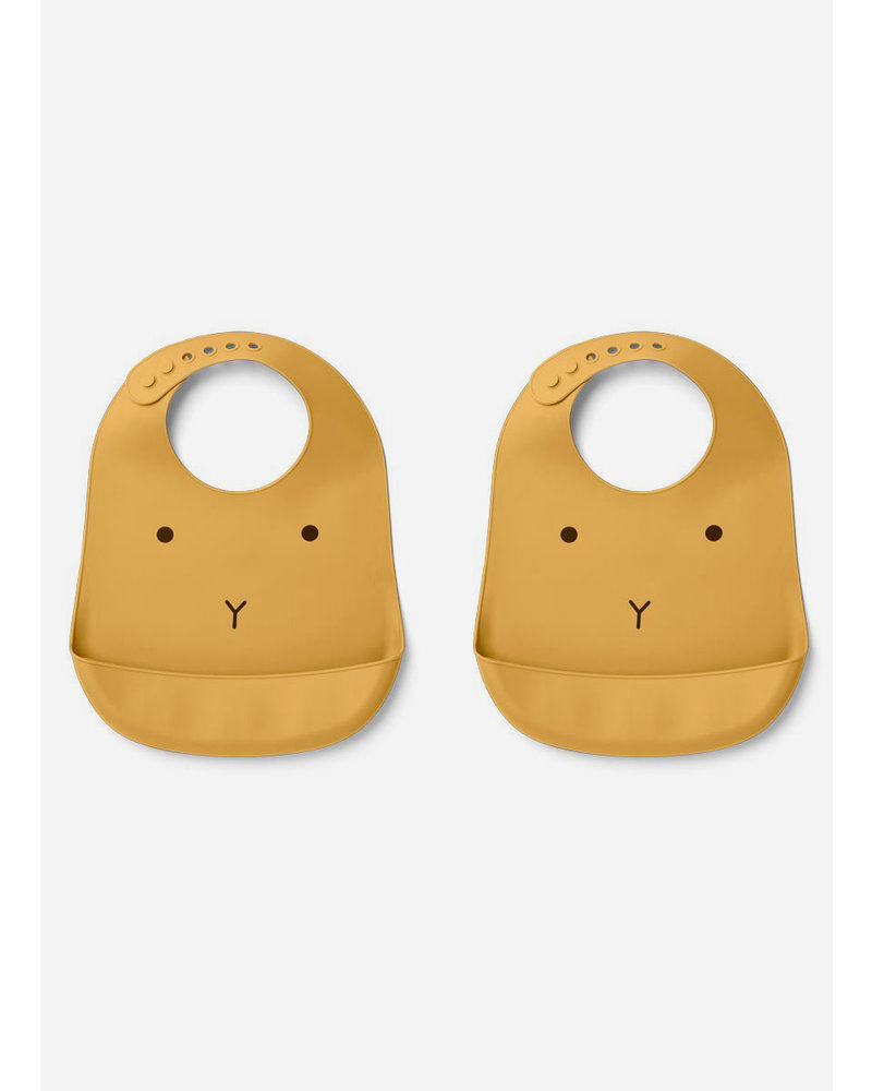 Liewood tilda silicone bib 2-pack rabbit yellow