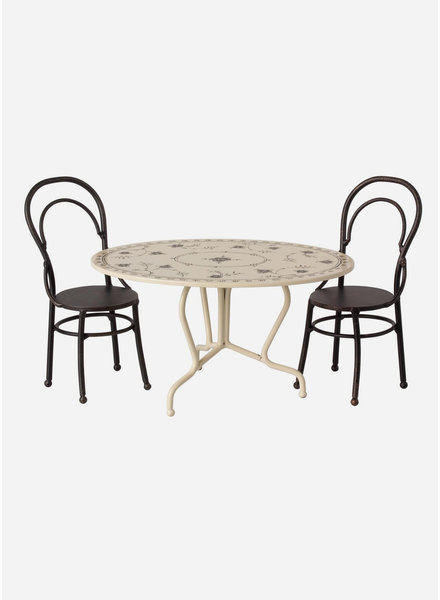Maileg dining table set mini  anthracite
