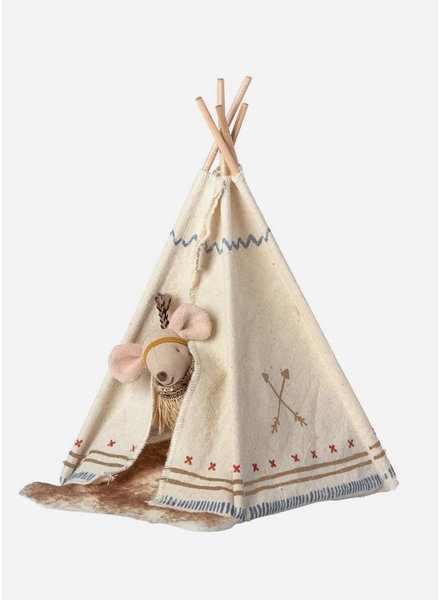 Maileg little feather with tent - little sister mouse