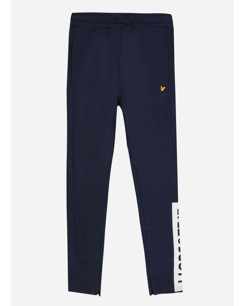 Lyle & Scott zip hem block logo jogger navy blazer