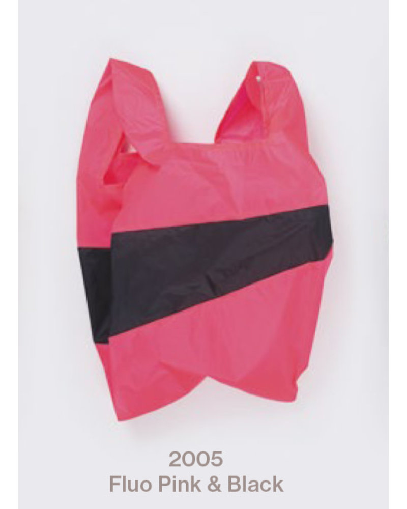 Susan Bijl recollection shoppingbag fluo pink - black