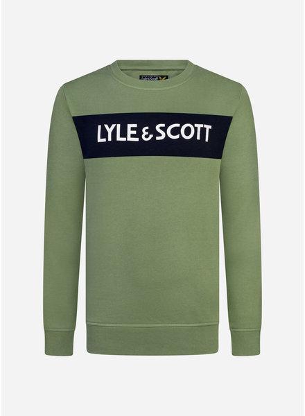 Lyle & Scott lyle panel bb crew hedge green