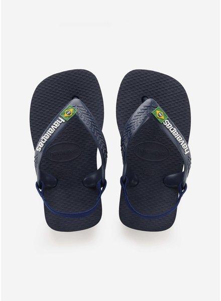 Havaianas flip flop baby brasil logo navy blue / citrus yellow