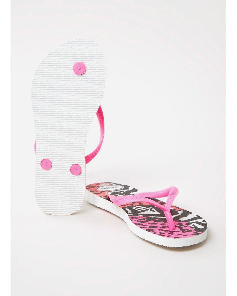 Havaianas flip flop slim animals white / shocking pink