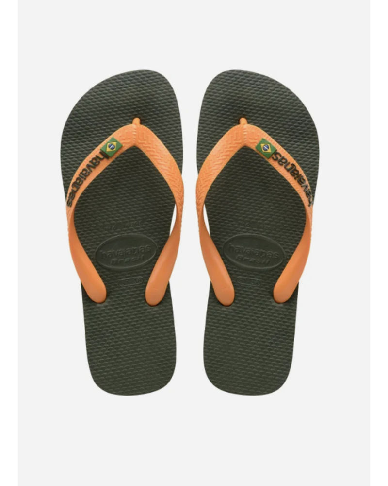 Havaianas flip flop brasil logo green olive / vibrant orange