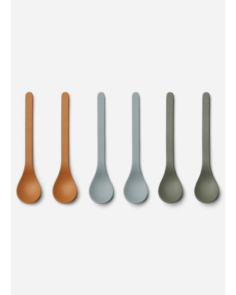 Liewood etsu bamboo spoon - 6 pack blue multi mix