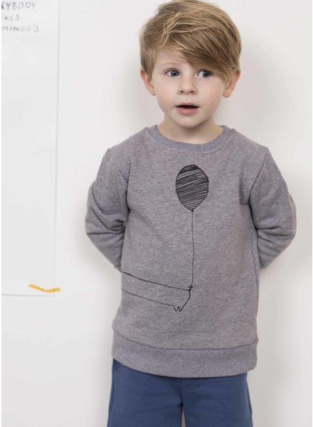 Pomme de Jus sweater tekkel kop grey melange