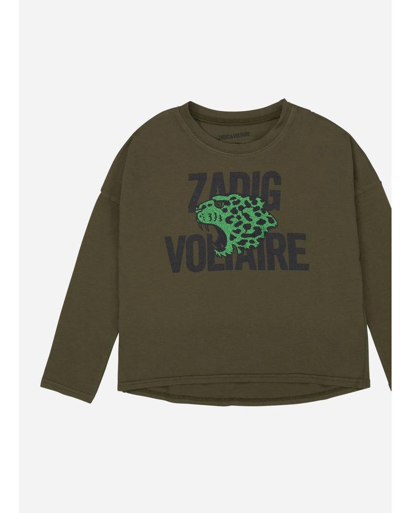 Zadig & Voltaire tee shirt kaki leopard