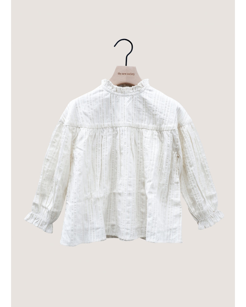 The New Society lurex blouse off white