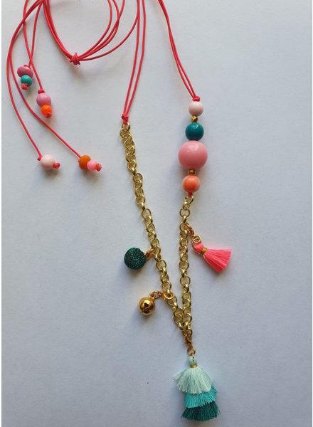 ByMelo gouden ketting roze goud bont gekleurd