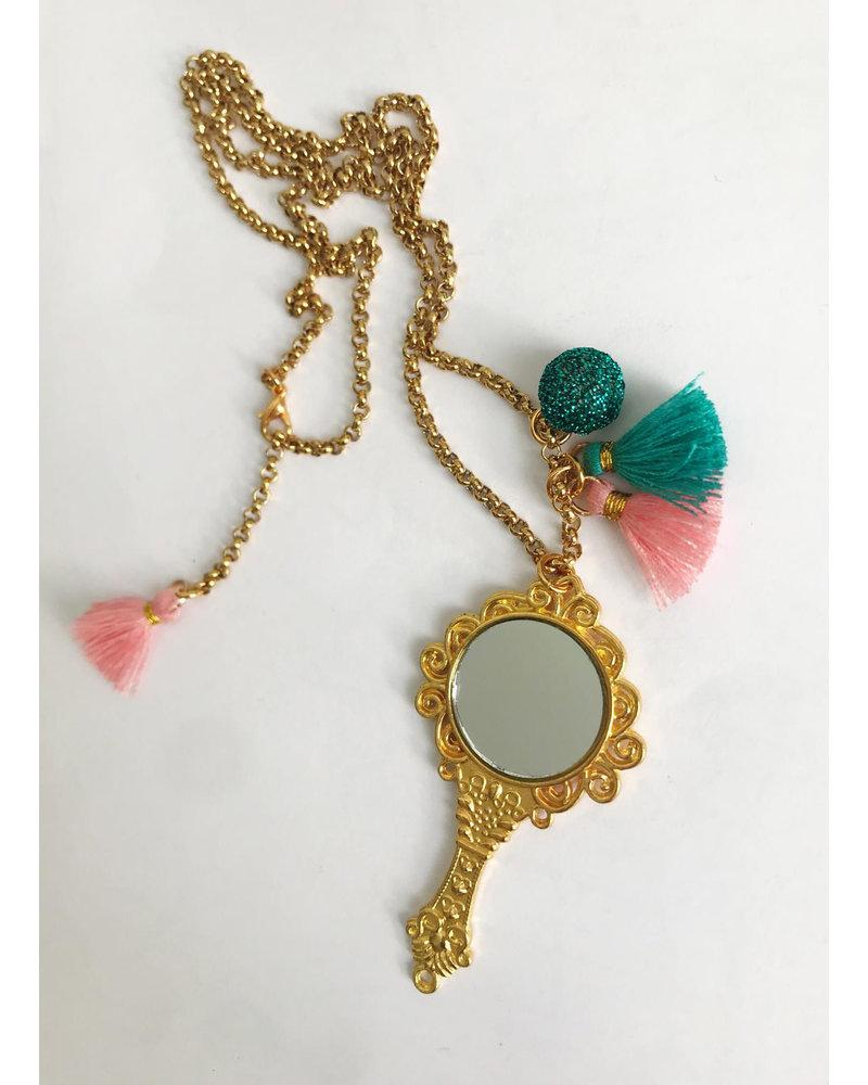 ByMelo gouden ketting spiegeltje, spiegeltje