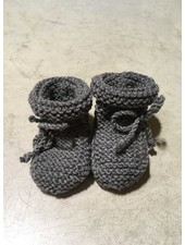 Oma Netty slofjes merino wol dark gray mottled