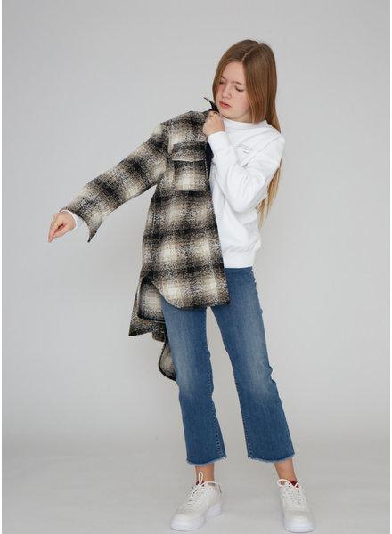 Designer Remix Girls jayden shirt coat black/beige check