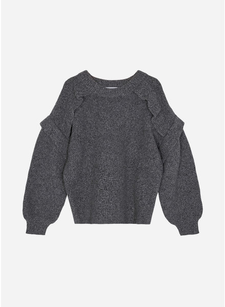 Designer Remix Girls silvia panel sweater dark grey melange