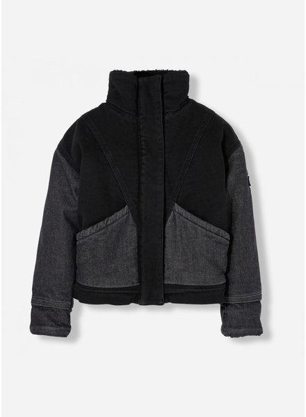 Finger in the nose flyer black oversized denim jacket