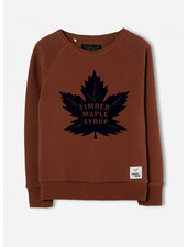 Finger in the nose hank brick maple leaf crew neck sweater
