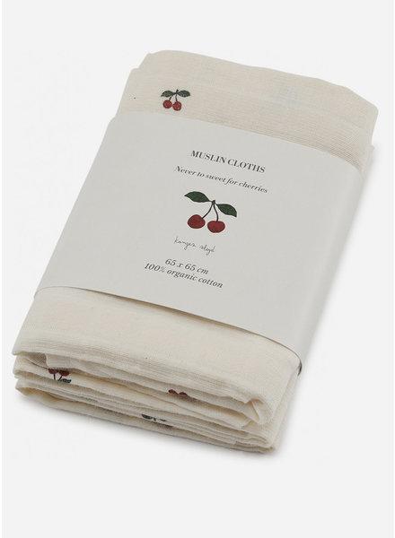 Konges Slojd 3 pack muslin cloth cherry