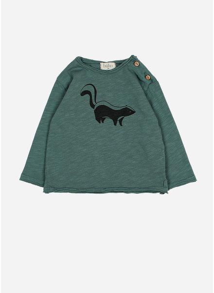Buho linus skunk tshirt pine green