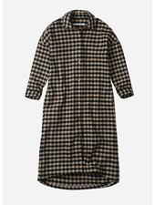Mingo checked flannel oversized shirt dress caramel/black