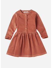 Mingo button dress corduroy  light terracotta