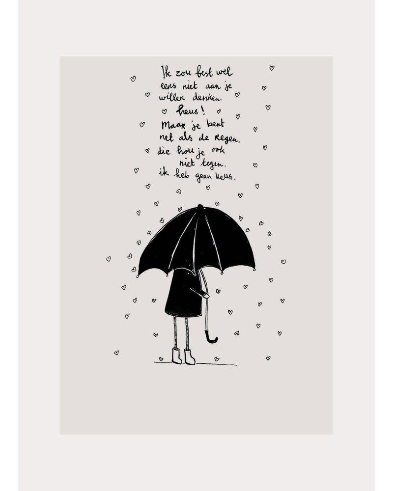 Pomme de Jus ansichtkaart hartjes regen