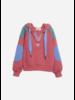 Wander & Wonder color block hoodie hibiscus
