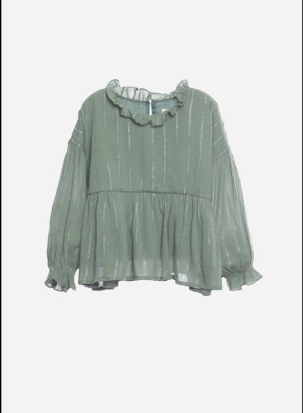Wander & Wonder ruffle blouse sage lurex