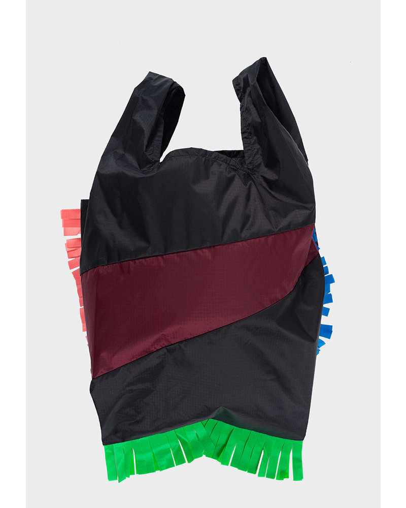 Susan Bijl shopping bag fringe black & burgundy