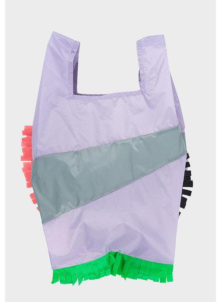 Susan Bijl shopping bag fringe lavender & grey