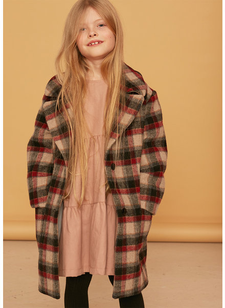 Kids on the moon ruby plaid coat