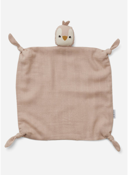 Liewood agnete cuddle cloth - penguin rose
