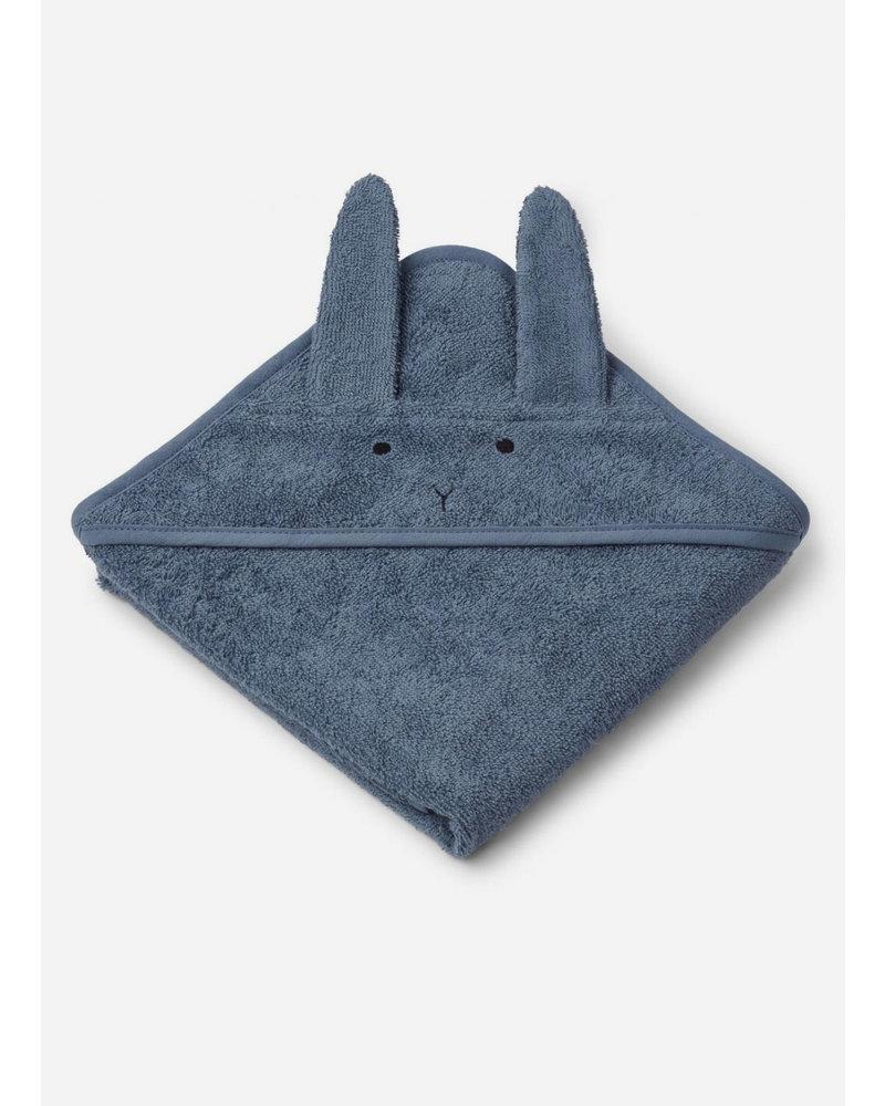 Liewood albert hooded towel - rabbit blue wave