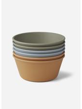 Liewood greta bamboo bowl 6 pack - blue multi mix