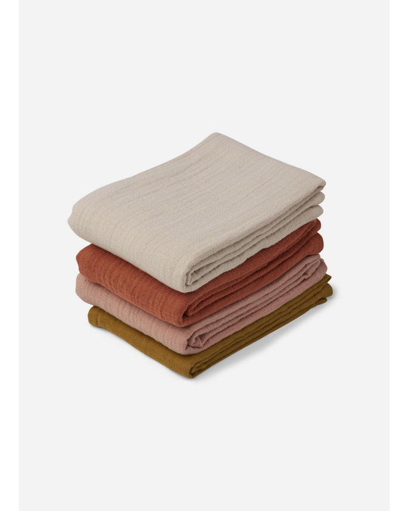 Liewood leon muslin cloth 4 pack - rose multi mix