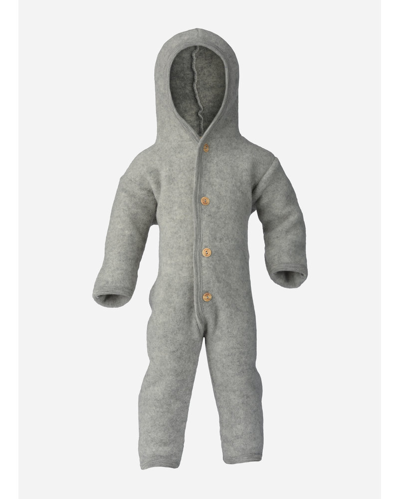 Engel Natur hooded overall - light grey melange