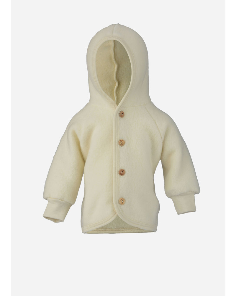 Engel Natur hooded jacket with wooden buttons - natural